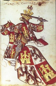 The miniature shows a knight dressed in the arms of Castile (castles) and León (lions). Through a complex system of combining family arms, whole dynastic histories could be expressed. Middle Ages History, Early Middle Ages, History Class, Horse Costumes, Armadura Medieval, Templer, Book Of Kells, Medieval Armor, Medieval Times