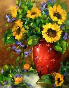 """Sunflowers and Clematis and a Workshop Treat by Floral Artist Nancy Medina"" - Original Fine Art for Sale - © Nancy Medina"