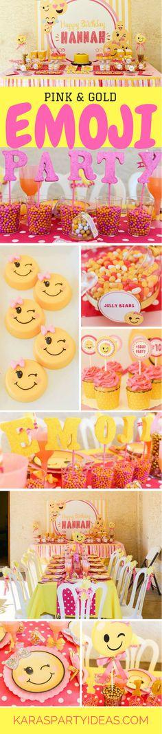 Pink and Gold Emoji Birthday Party via Kara's Party Ideas