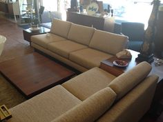 Vintage sofa/end tables/coffee tables. New upholstery. Strong, clean lines.