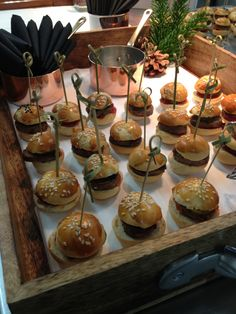 Mini beef burgers and pickles #gallopinggourmet #canapes #wedding @GGWeddings