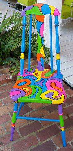 Handpainted OOAK Chair Custom Colorful Painted Chair by PinkOkra Hand Painted Chairs, Whimsical Painted Furniture, Painted Stools, Hand Painted Furniture, Funky Furniture, Paint Furniture, Repurposed Furniture, Furniture Makeover, Painted Tables