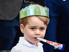 Party games: How Prince George may look celebrating his big day next Friday. The Prince is set to receive a puppy, train set and football as presents before a big party at the family home
