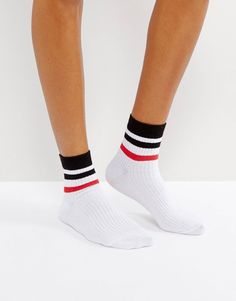 2df2194e9 DESIGN stripe ribbed ankle socks in white with multi stripe