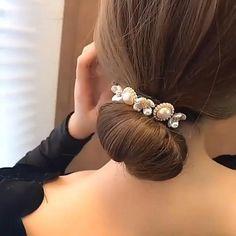 Cute Hairstyles For Teens, Bun Hairstyles For Long Hair, Work Hairstyles, Hair Dos, Amber Hair, Thick Curly Hair, Hair Up Styles, Barrettes, Short Wedding Hair