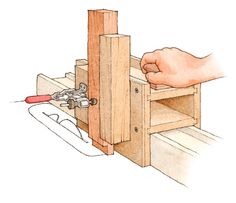 Multi-Use Joinery Jig: tenoning configuration. Download the free woodworking plan.