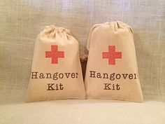 10 Hangover Kit / Red Cross - Organic Cotton Drawstring Bags - Great for Bachelorette or Bachelor Parties 4x6 by owlwaysremember on Etsy https://www.etsy.com/listing/206267799/10-hangover-kit-red-cross-organic-cotton