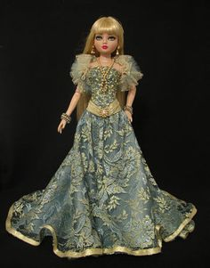 OOAK Gown in metallic antique gold lace and jade blue polysilk with beaded bodice and metallic sash, tulle and metallic mesh Stole and Jewelry set by WS fits Ellowyne Wilde, by jkinmcd via eBay, SOLD 1/25/16  $94.97