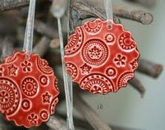 Ceramic stamped and cookie cutter Christmas Ornament