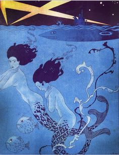 Georges Barbier 1917 Poissons d'Avril Mermaids Submarine