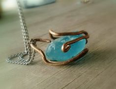 Artisan Copper Wirewrapped Blue Seaglass by JennieVargasJewelry,