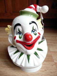 1979 SCHMID Clown Music Box plays Send In The Clowns Hand Painted Japan