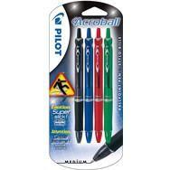 Lot de 4 stylos bille Acrobat assortiment bleu, vert, rouge, noir