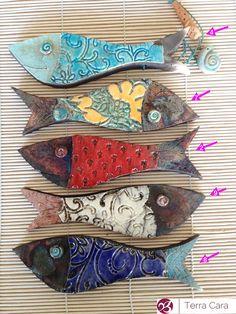 Pesci di ceramica Raku - attaccatura di parete