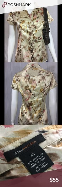 """Beautiful BCBG MaxAzria Blouse Button-down. 2 breast pockets. Shades of tans, creams, browns, and dusty rose. Armpit to armpit is 17"""". 24"""" long. 96% polyester. 4% spandex. Gorgeous! BCBGMaxAzria Tops Blouses"""