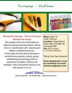 """Windchimes...terra cotta pot, roping, paper, paint, glue, doodads and some beads for the """"chime""""."""