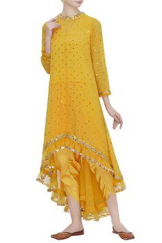 Buy High Low Kurta Dhoti Pant Set by Vvani by Vani Vats at Aza Fashions Silk Kurti Designs, Kurta Designs Women, Kurti Designs Party Wear, Dress Neck Designs, Designs For Dresses, Neckline Designs, Stylish Dresses, Dresses For Work, Girls Dresses