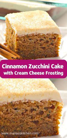 Cinnamon Zucchini Cake with Cream Cheese Frosting ( Desserts, Cakes ) – Blechkuchen rezepte Just Desserts, Delicious Desserts, Yummy Food, Fancy Desserts, Cheesecake Recipes, Dessert Recipes, Sans Gluten Vegan, Zuchinni Recipes, Courgette Cake Recipe