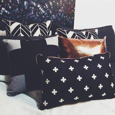 Black + white + grey + copper ▪️▫️▪️▫️▪️▫️▪️▫️▪️▫️ #cushions #homewares #homedecor #interior #interiordesign #blackandwhite #crosses #herringbone #charcoal #copper #gabeandnix #nowonline