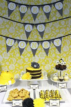 black and yellow sweet as honey bee themed sip and see dessert table with backdrop sign