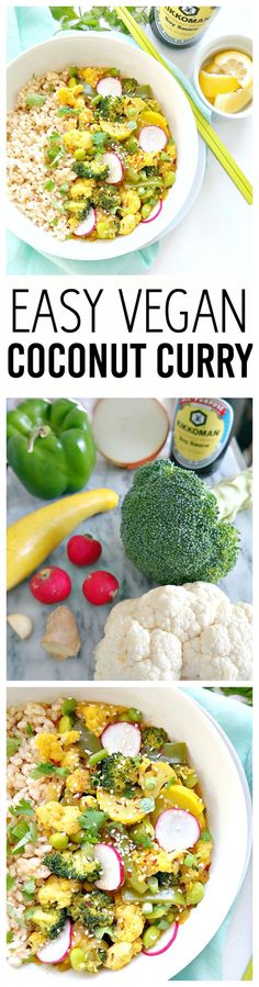 Easy Vegan Coconut Curry. Oil-Free and Gluten-Free. Made with creamy coconut milk, fresh vegetables, warming spices and brown rice, this rich yet healthy recipe is sure to please. Easy, not overpowering and absolutely delicious. From The Glowing Fridge