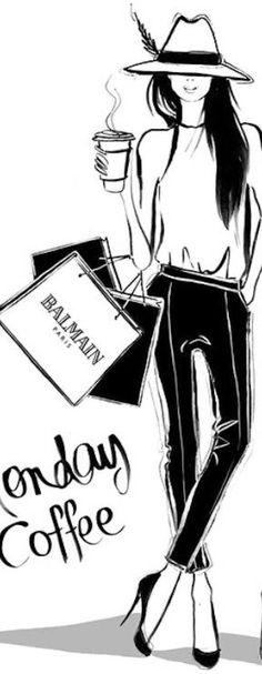 Black and white // fashion illustration // Megan Hess