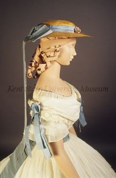 Dress with matching hat, ca. 1864 French.   In the Swan's Shadow