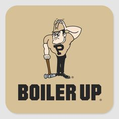 Purdue University Boiler Up Purdue Pete Square Sticker Purdue University, Mascot Design, Custom Coasters, Boiler, Kingfisher, Free Paper, Drink Coasters, Artwork Design, Surface Design