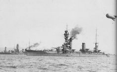Japanese battleships Fuso (foreground), Nagato (center), and Mutsu (far rear) at Mitajiri, Japan, 1928