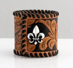 Items similar to Tooled Leather Cuff on Etsy