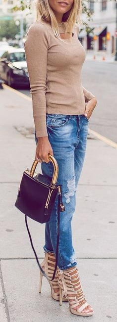 Nude + distressed denim.
