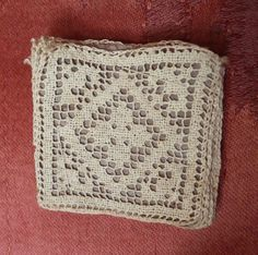12 Handmade Filet Lace Insert Squares Circa 1900