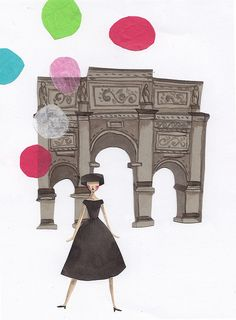 An illustration of Audrey Hepburn from the film Funny Face. Illustration by Emma Block.