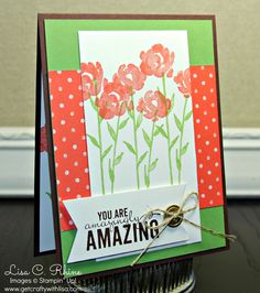 Get Crafty with Lisa:  Amazingly Amazing.  This card features Stampin' Up!'s Painted Petals Stamp Set and Birthday Bash Specialty Designer Series Paper, by Lisa Rhine, www.getcraftywithlisa.com
