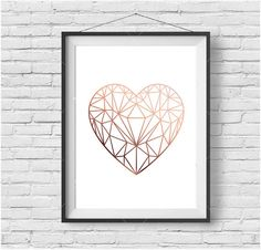Copper Love Heart Print Rose Gold Printable Art Scandinavian Print Copper Decor Geometric Love Heart Poster Rose Gold Art INSTANT DOWNLOAD