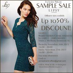 Sample sale Lipsy London -- Amsterdam -- 26/11-27/11