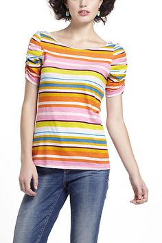 Anthropologie striped Here & There tee, XS, pink