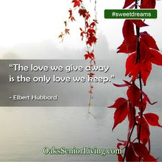 """#sweetdreams: """"The love we give away is the only love we keep."""" - Elbert Hubbard  ~OaksSeniorLiving.com #quote #elderly #seniors #quotes #caring Love Only, Senior Living, Our Love, Sweet Dreams, Atlanta, Quotes, Movie Posters, Quotations, Film Poster"""