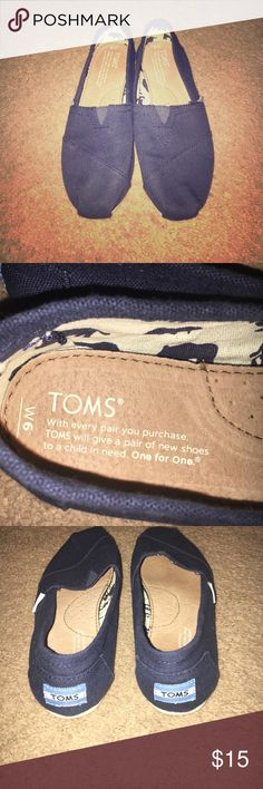 Navy Blue TOMS -6W Classic TOMS navy blue in size 6W only worn once, they were too small on me TOMS Shoes