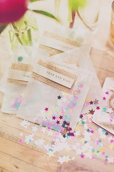 confetti for after the reception, only with rice or paper so it is biodegradable