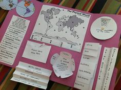 "Getting ready to start world geography unit. Lapbook for continents and oceans, hemispheres, major latitude & longitude lines, major landmarks of the continents, and more. Lift-a-flap continents is for native animals and other ""fun facts."""