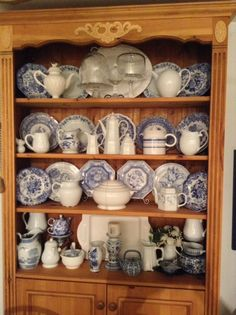 blue and white collection, pine hutch