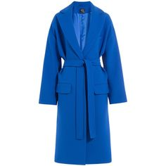 McQ Alexander Mcqueen Blue Belted Oversized Coat (11.270 ARS) ❤ liked on Polyvore featuring outerwear and coats