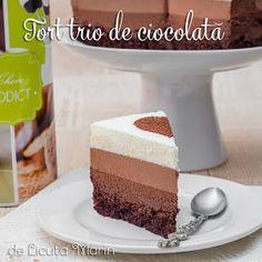Din bucătăria mea: Tort trio de ciocolata Sweet Tarts, Food Cakes, Vanilla Cake, Cake Recipes, Pudding, Sweets, Desserts, Pies, Cream