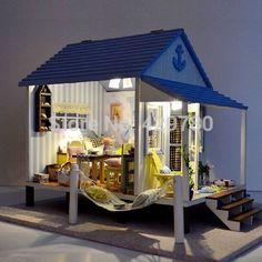 poppenhuis miniatuur diy kit licht gelukkige kust houdt van geluk strand huis voor cadeau valentijn(China (Mainland))