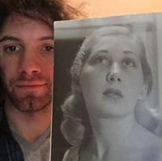 Danny with a photo of his grandmother when she was 19