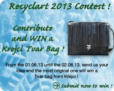 Send Us Your Idea and Try to Win a Krejci Shoulder Innertubes Bag! From January 06 to February each […] Recycled Rubber, Recycled Art, Recycled Glass, Repurposed, Glass Bottle Crafts, Glass Bottles, Pallet Decking, Jerry Can, Cleaning Companies