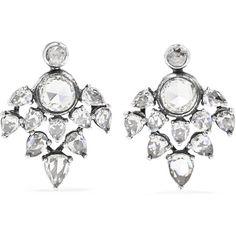 Saqqara 18k white gold and diamond disc earrings xWn3Hd