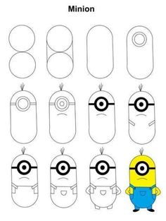ideas step by step # for # step by step instructions Minion step-by-step tutorial. Step-by-step instructions for Minion. Easy Disney Drawings, Easy Drawings Sketches, Cute Cartoon Drawings, Easy Drawings For Kids, Cool Art Drawings, Pencil Art Drawings, Drawing Ideas, Mickey Mouse Drawings, Doodle Drawings