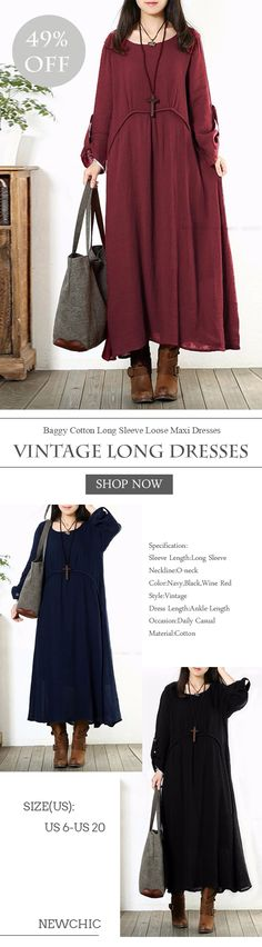 [Newchic Online Shopping] 49%OFF Women Vintage Baggy Cotton Long Sleeve Loose Maxi Dresses